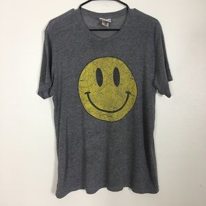 Junk Food Grey Tshirt with Yellow Smiley Face